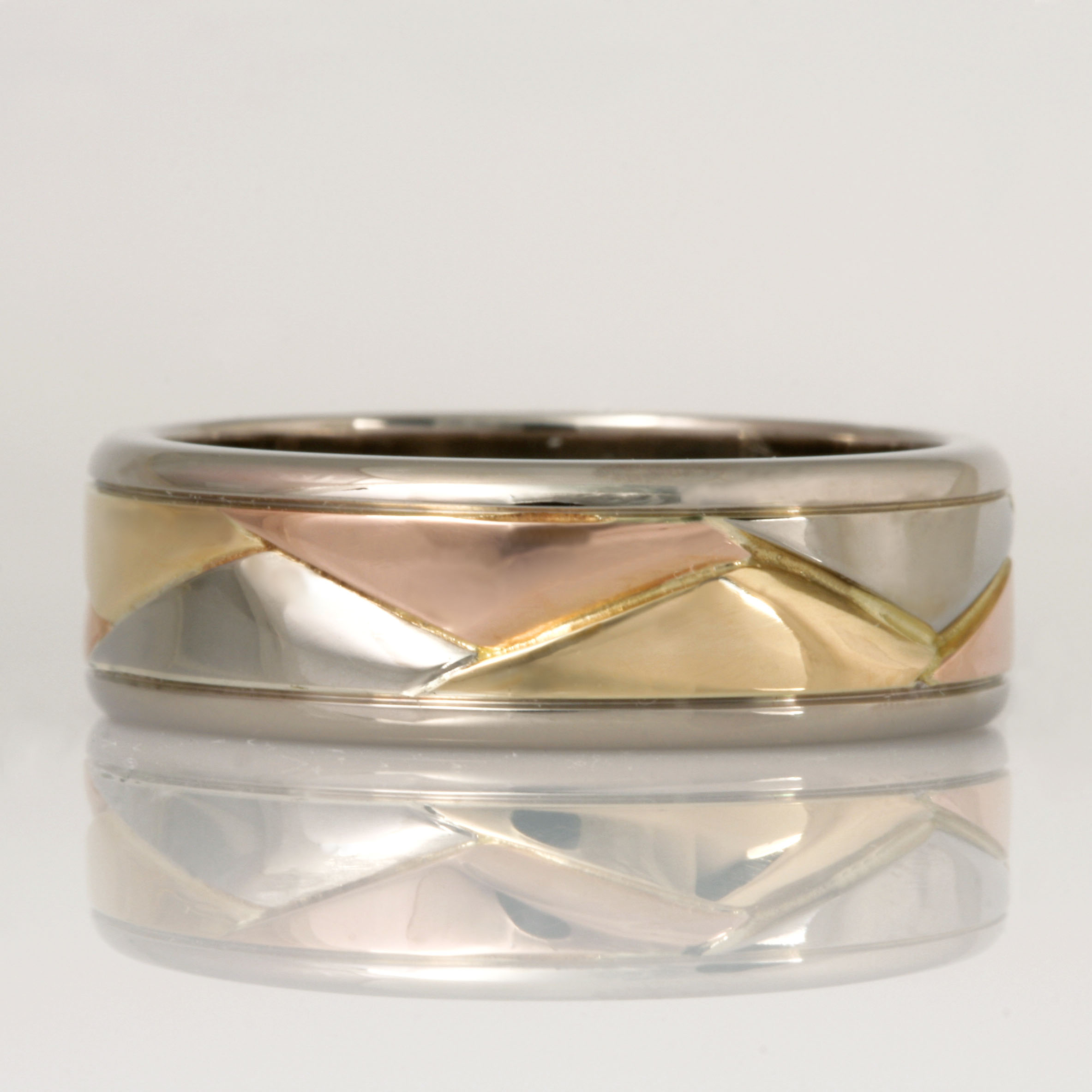 Handmade gents 18ct yellow, rose and white gold wedding ring