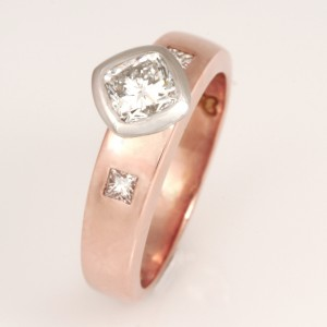Handmade ladies 18ct rose gold and palladium cushion cut diamond engagement ring