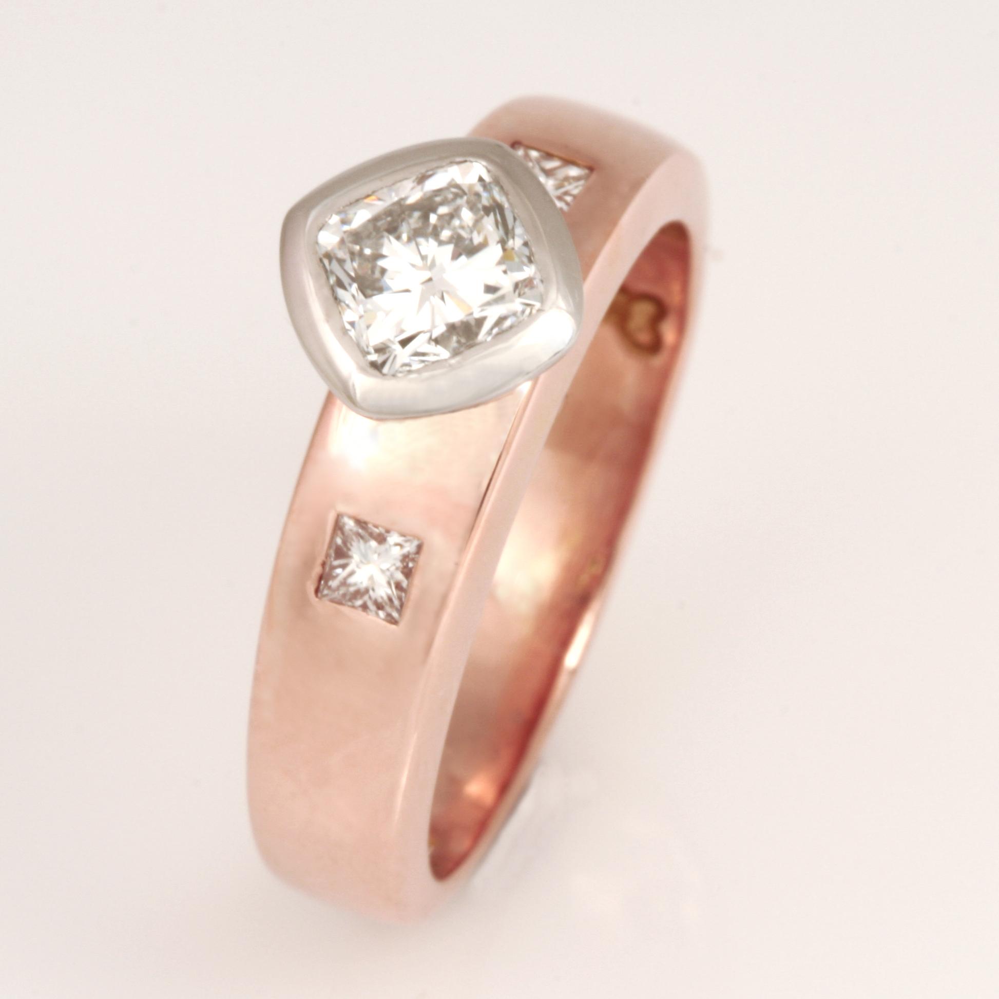 Handmade ladies 18ct rose gold and palladium cushion cut diamond engagement ring