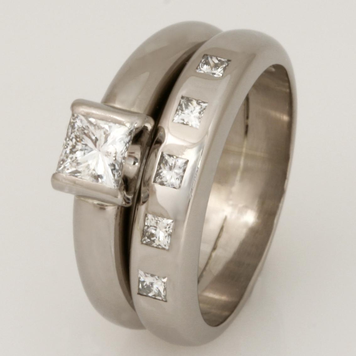 Handmade ladies 18ct white gold princess cut diamond eternity ring