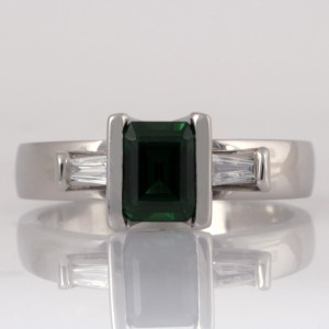 Handmade ladies palladium Emerald and diamond ring