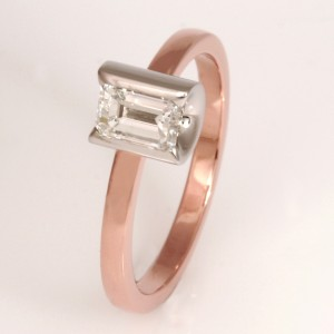 Handmade ladies 18ct rose gold and palladium diamond ring