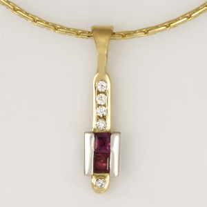 Handmade ladies 18ct yellow gold ruby and diamond pendant