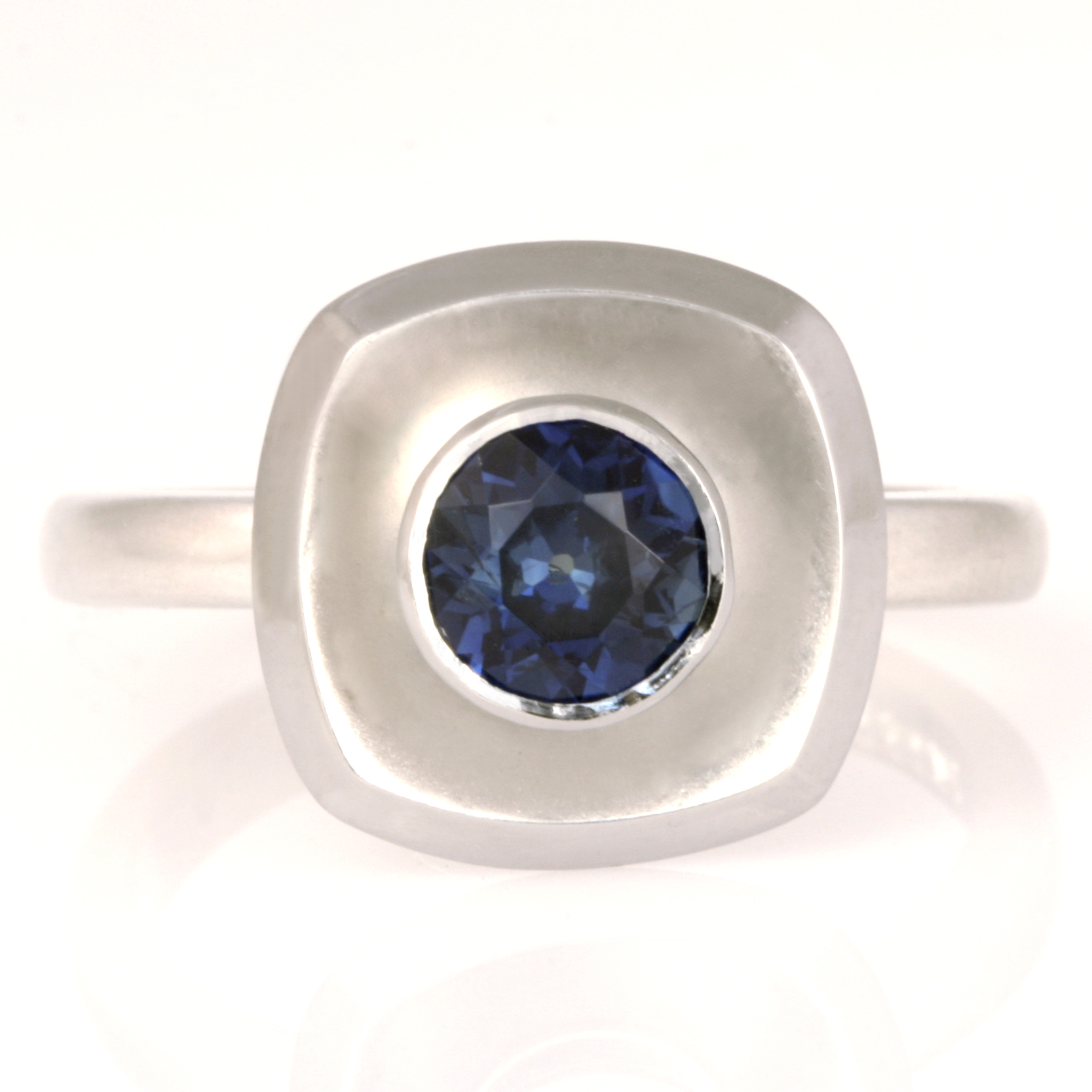 Handmade ladies palladium and sterling silver sapphire ring