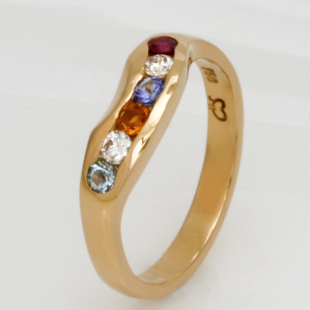 Handmade ladies 18ct yellow gold ruby, citrine, aquamarine, tanzanite and diamond birthstone ring