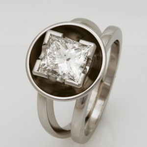 Handmade ladies platinum princess cut diamond engagement ring