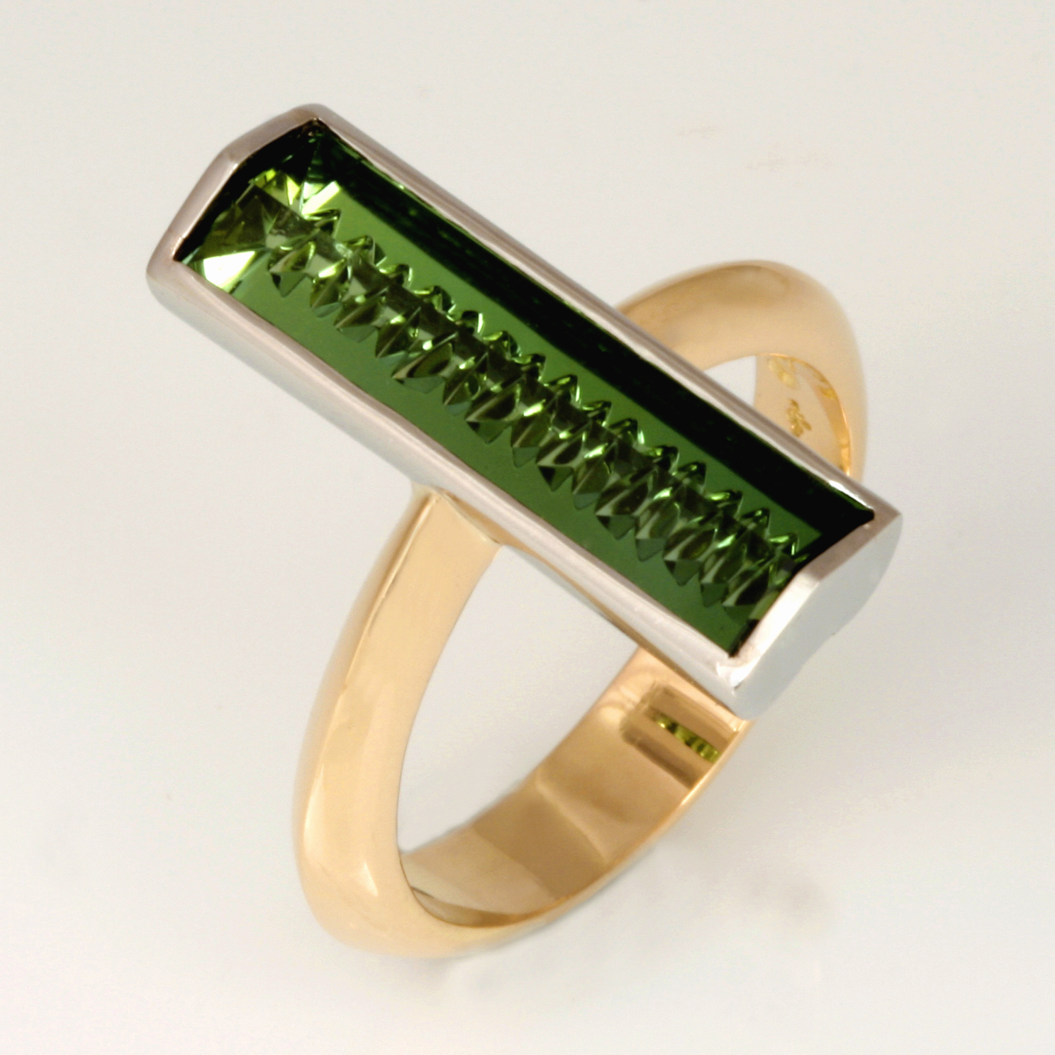 Handmade ladies 18ct yellow gold and palladium fancy cut green tourmaline ring