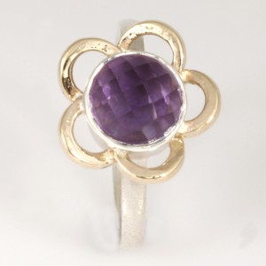 R147 Sterling silver ring with a 9ct yellow gold flower cut out surrounding an 8mm checkerboard amethyst.  $380