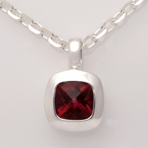 P105 Sterling silver cushion cut red topaz pendant only $330 CH165 sterling silver diamond cut chain only $65