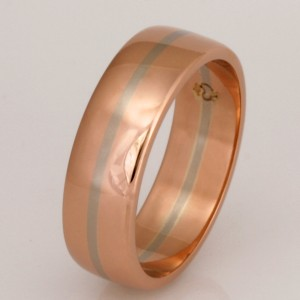 Handmade gents 18ct rose gold wedding ring featuring an 18ct white gold centre stripe