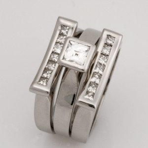 Handmade ladies palladium tycoon cut diamond engagement ring and princess cut diamond split wedding rings set.