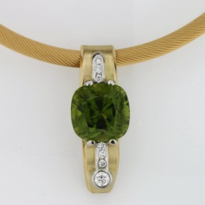Handmade ladies 18ct yellow gold and palladium pendant featuring a square cushion cut peridot and diamonds