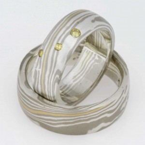 Handmade ladies and gents 18ct yellow and white gold and sterling silver yellow diamond Mokume Gane matching wedding rings