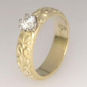 Handmade ladies engraved diamond engagement ring
