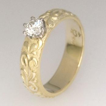 Handmade ladies engraved diamond engagement ring
