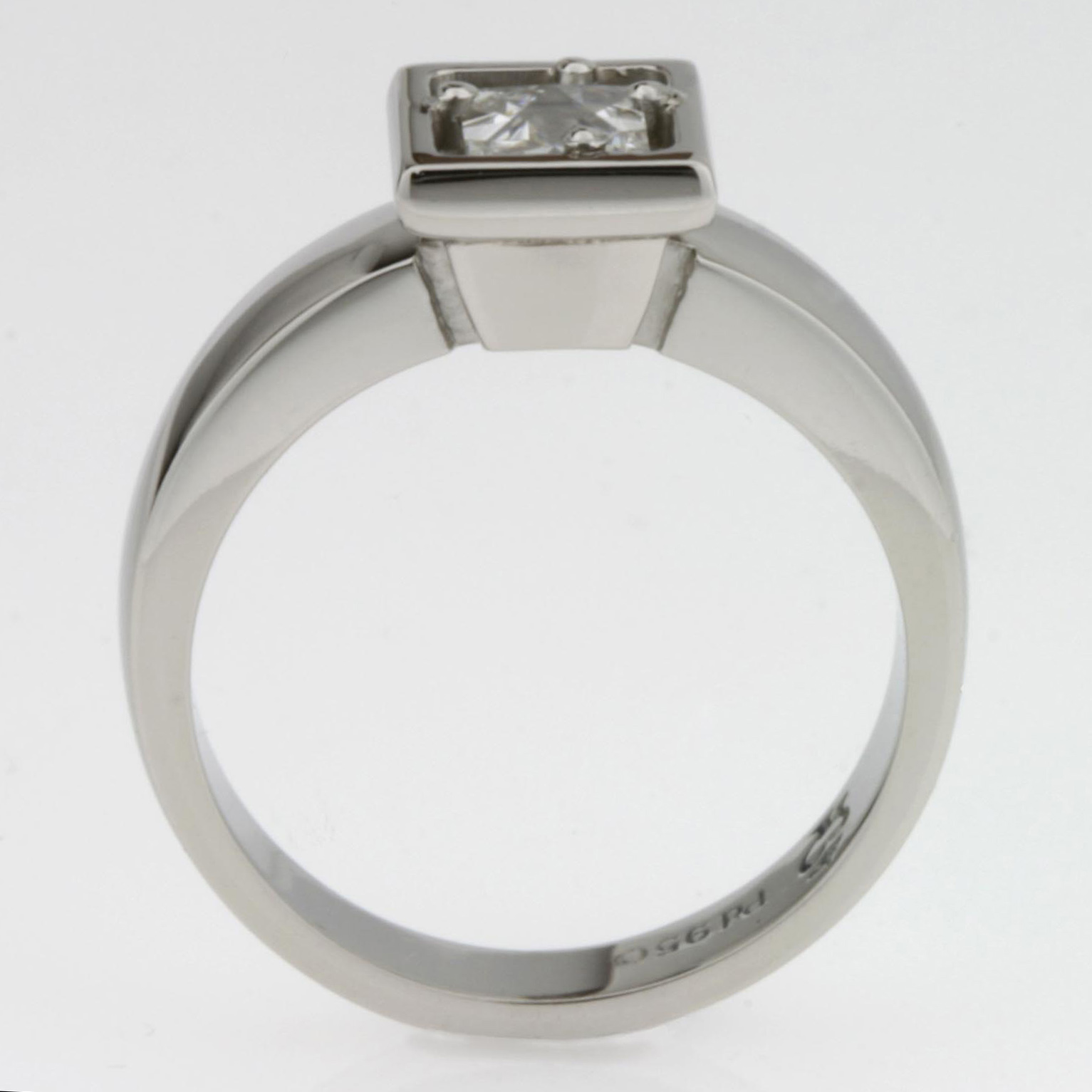Handmade ladies palladium engagement ring featuring Context cut diamond