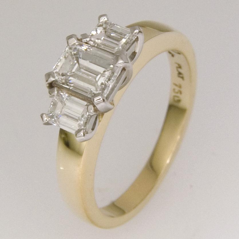 Handmade ladies 18ct yellow gold and platinum three diamond engagement ring