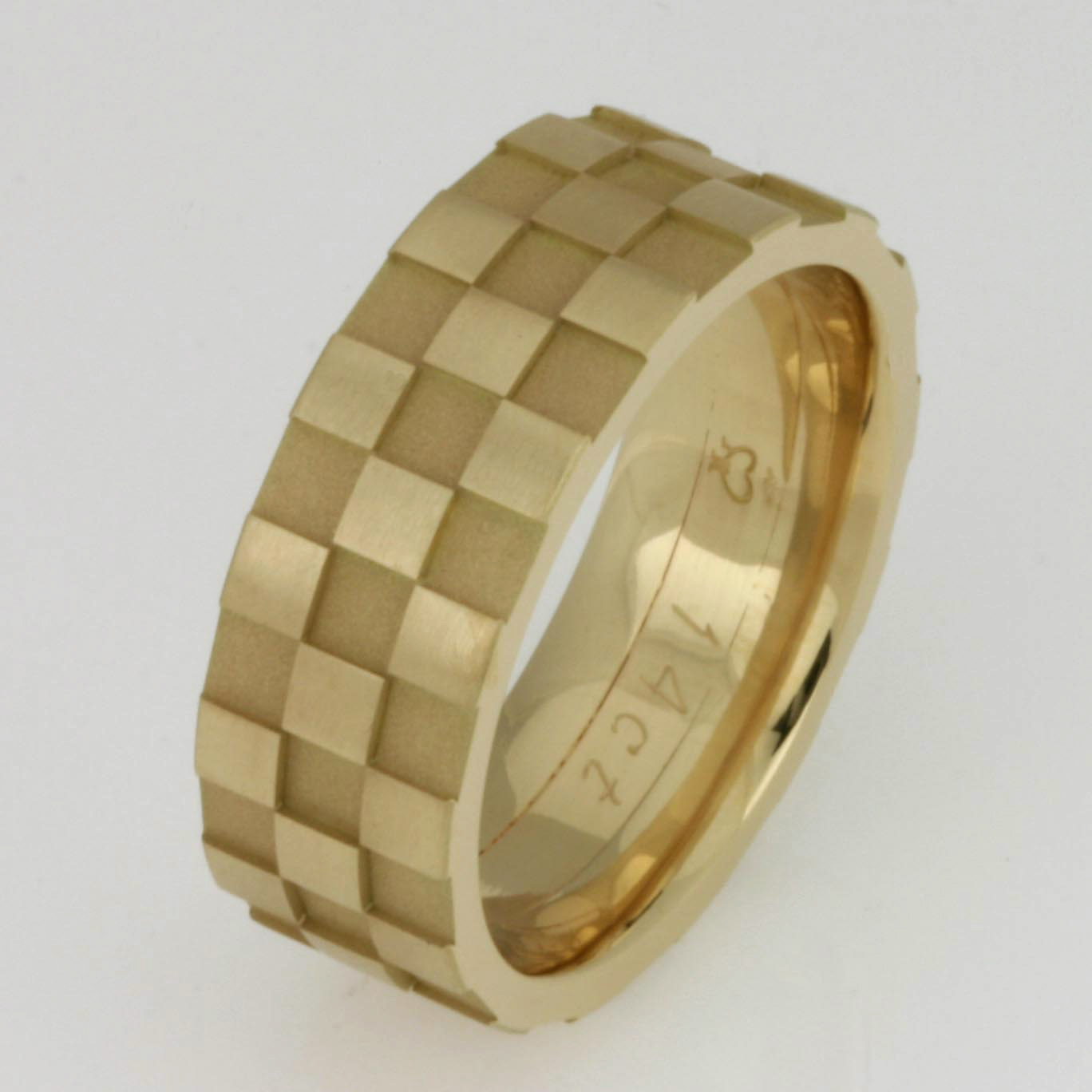 Handmade gents 14ct yellow gold checker board ring