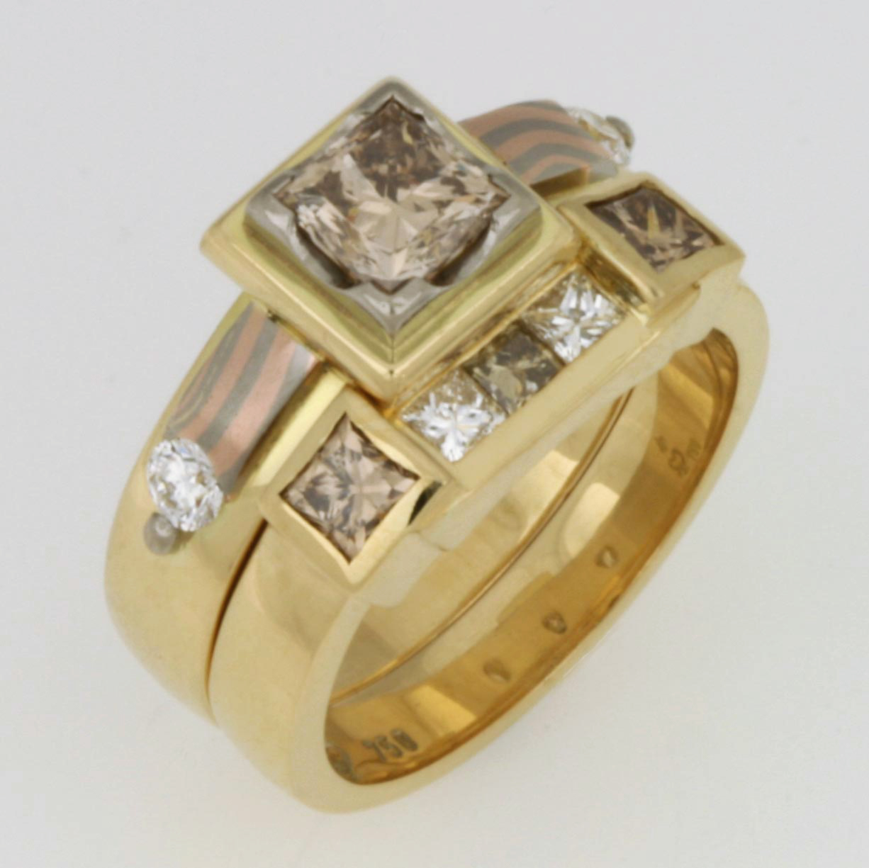 Handmade ladies 18ct yellow gold diamond ring set featuring Mokume Gane and champagne diamonds