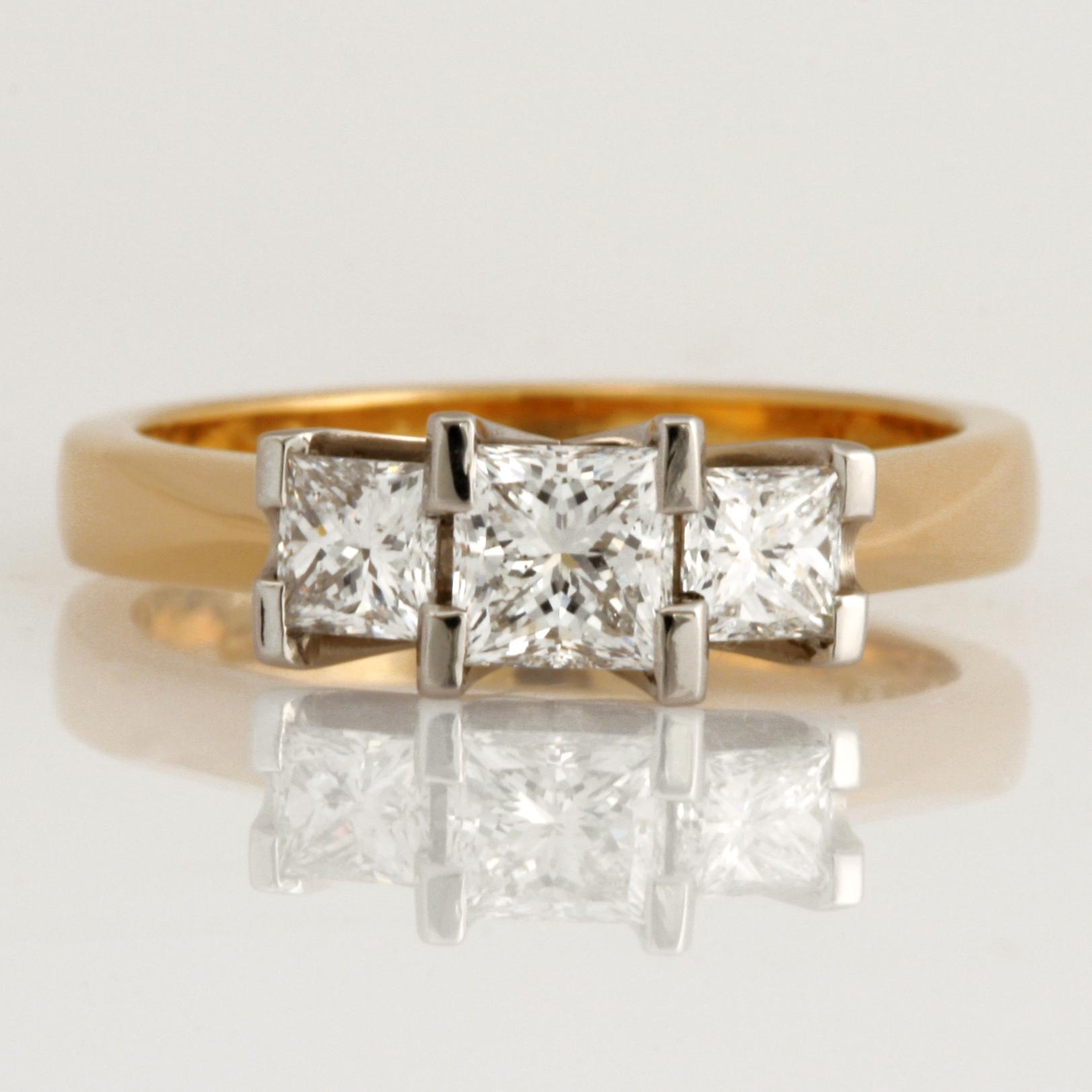 Handmade ladies 18ct yellow gold and platinum princess cut diamond engagement ring