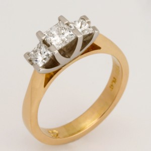 Handmade ladies 18ct yellow gold and platinum princess cut diamond engagement ring