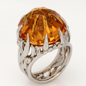 Handmade ladies palladium and diamond ring featuring a 27.06 carat golden Madeira yellow Citrine