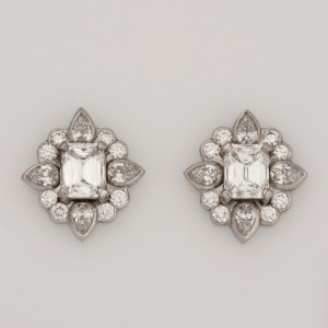 Handmade ladies palladium crisscut diamond stud earrings featuring palladium diamond enhancers