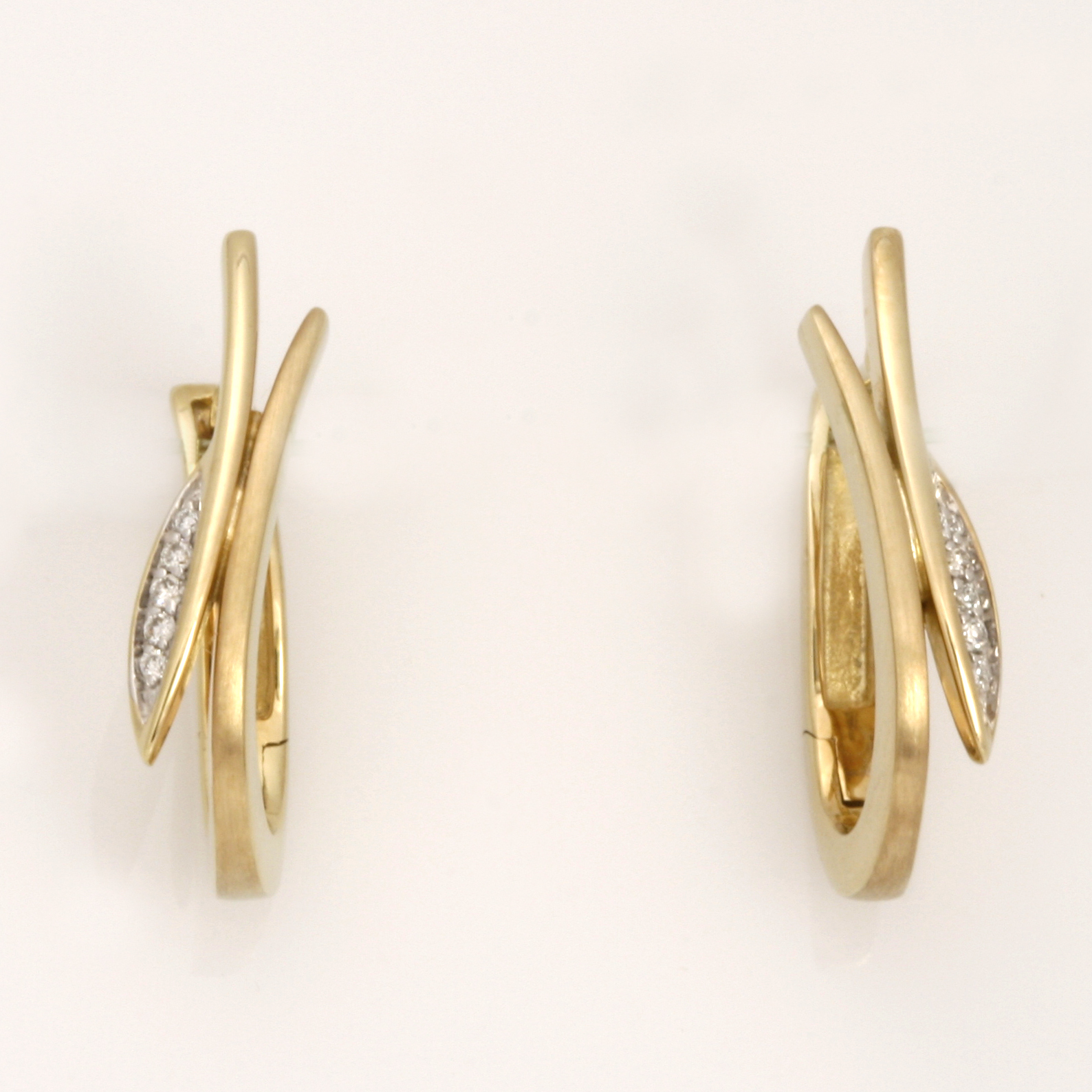 E0204 9ct yellow gold and diamond huggies earrings diamonds 0.055cts matte and polished $750