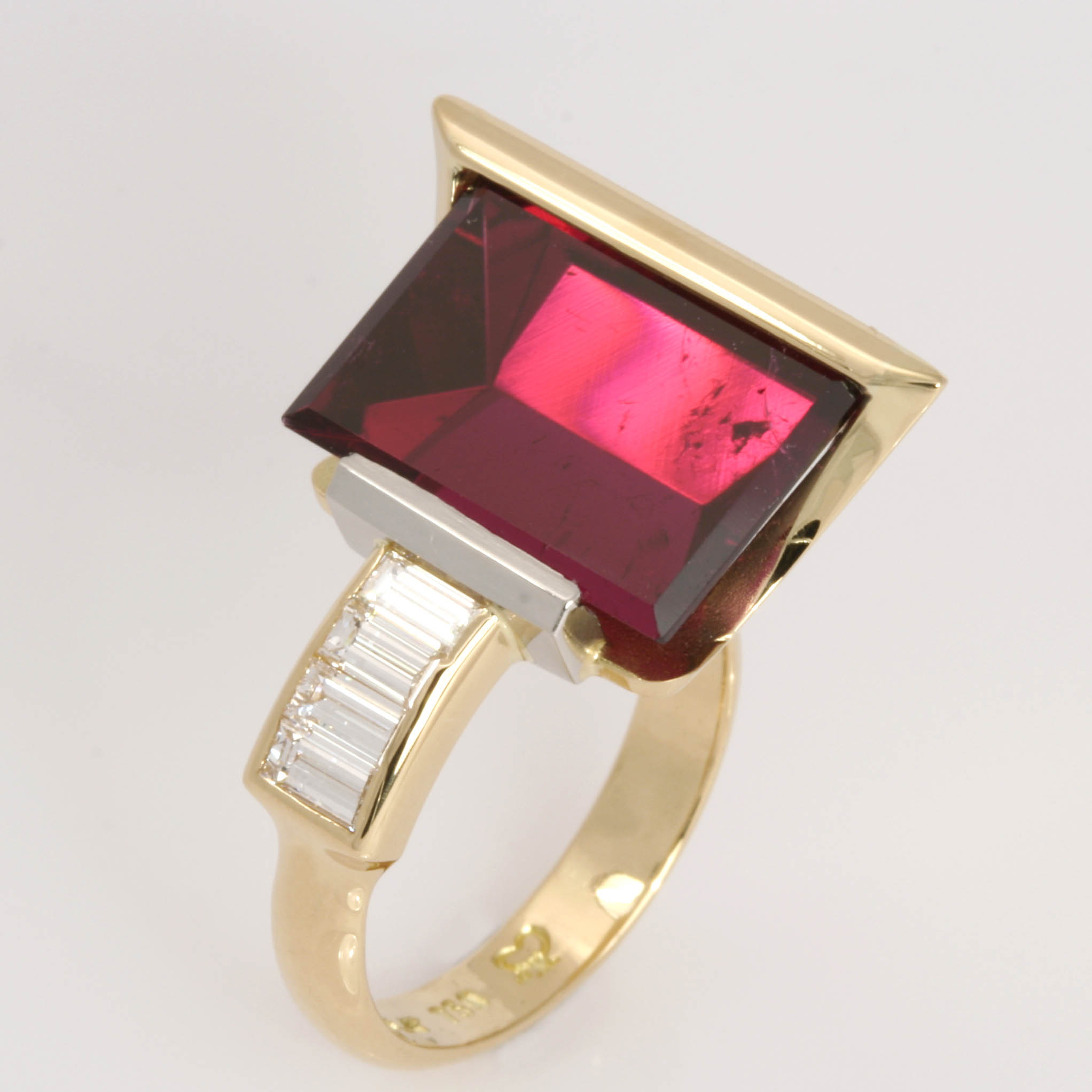Handmade ladies 18ct yellow gold ring featuring a fancy cut rubellite tourmaline and baguette diamonds