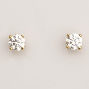 Ladies 18ct yellow gold brilliant cut diamond 4 claw stud earrings