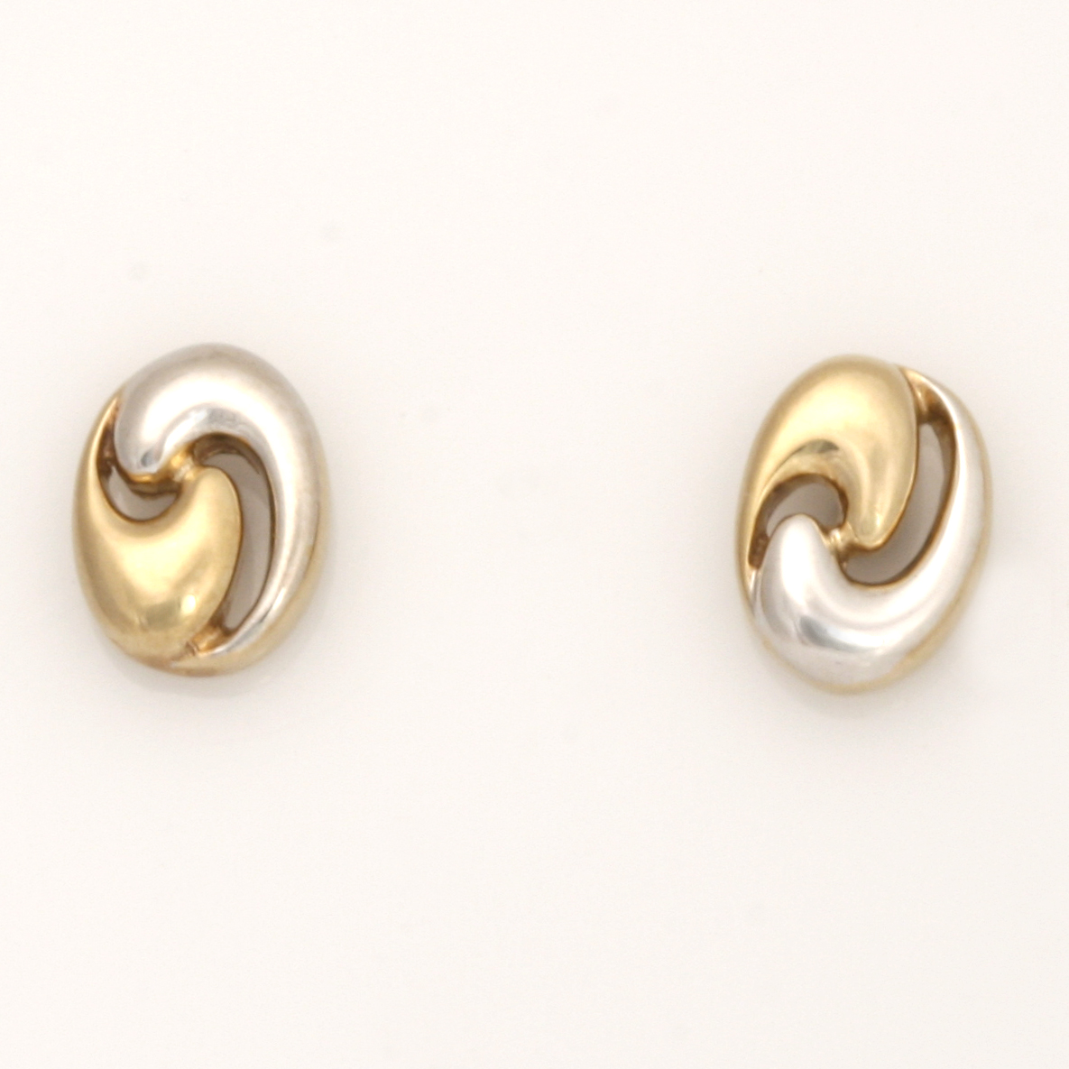 E0159 – 9ct yellow gold and rhodium plate two toned stud earrings $280