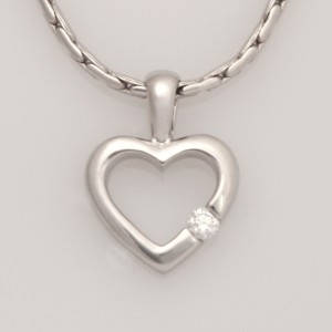 P112 9ct WG floating heart pendant with 1 x 0.05ct diamond $295