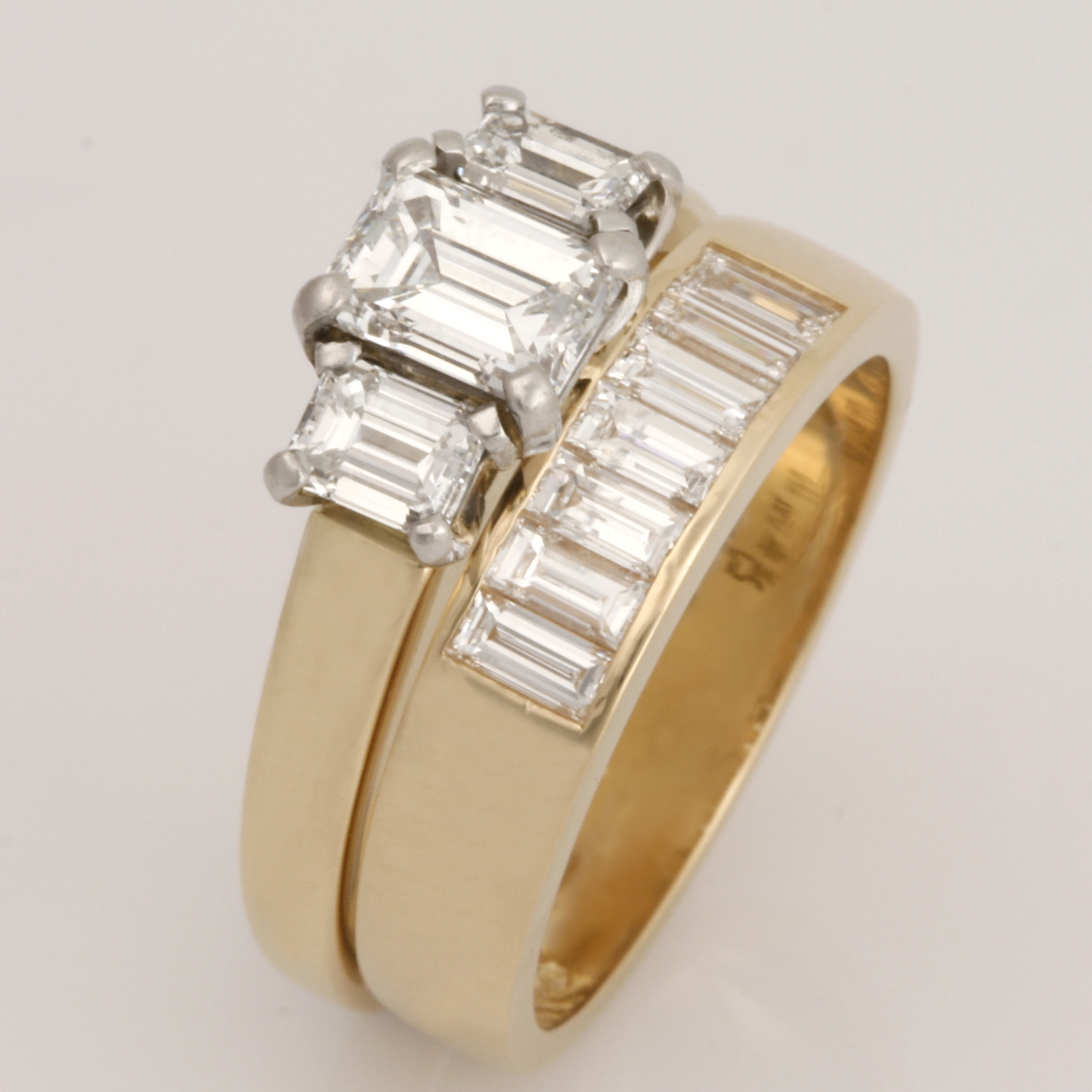 Handmade ladies 18ct yellow gold baguette diamond eternity ring