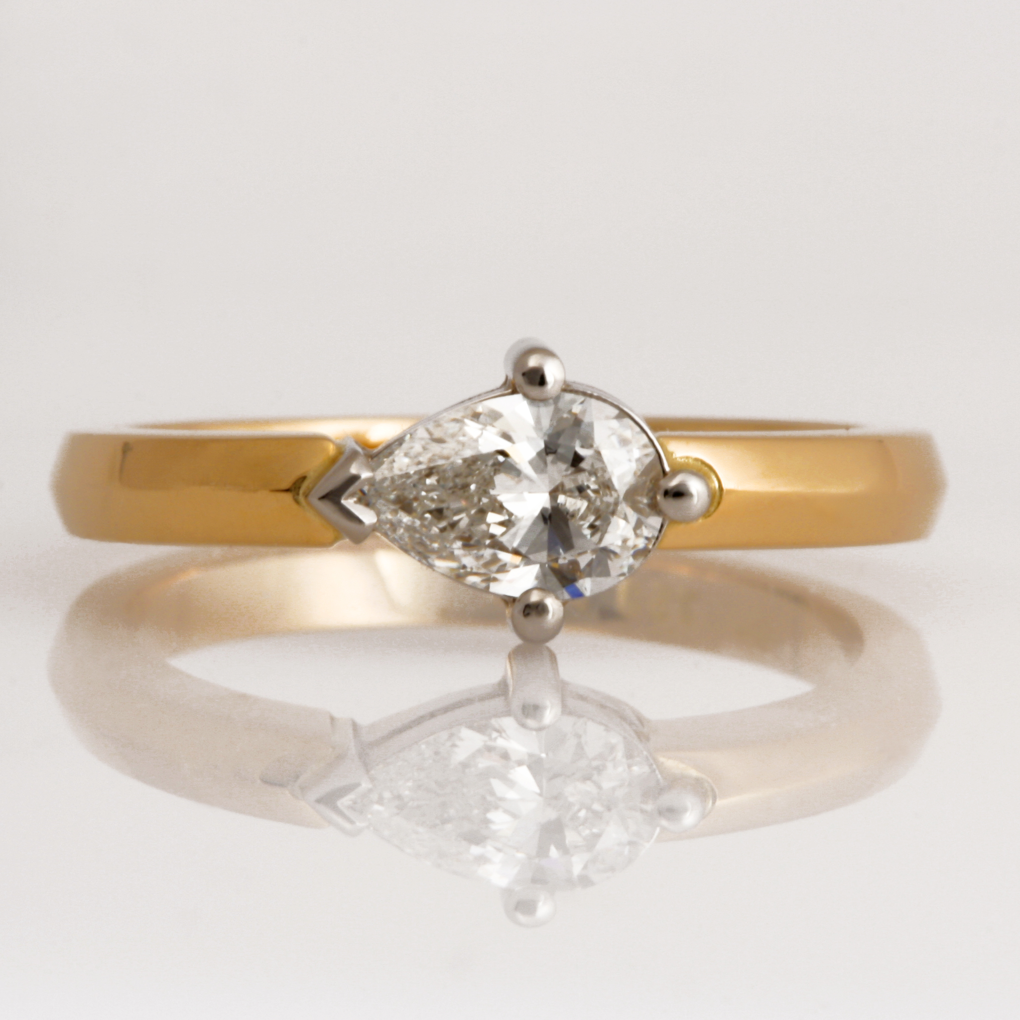 Handmade ladies 18ct yellow gold and platinum pear shape diamond engagement ring