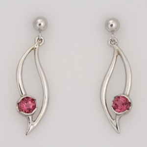 E0210 9ct white gold leaf shape drop earrings featuring pink tourmaline $725