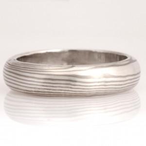 Handmade ladies 18ct white gold and sterling silver Mokume Gane wedding ring