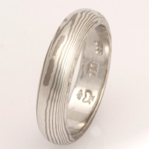 Handmade ladies 18ct white gold and sterling silver Mokume Gane wedding ring