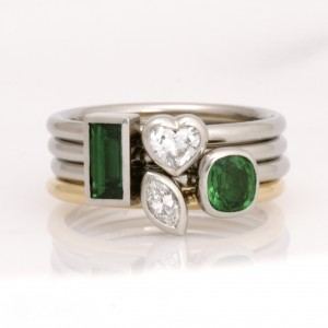Handmade ladies palladium and 18ct yellow gold stacker rings featuring tsavorite garnets and diamonds