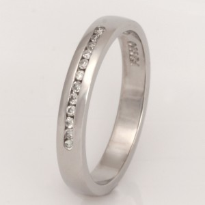 Handmade ladies palladium diamond eternity ring