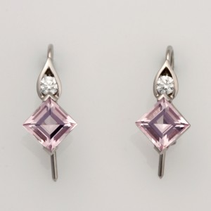 Palladium and Diamond earrings featuring Carre Morganites