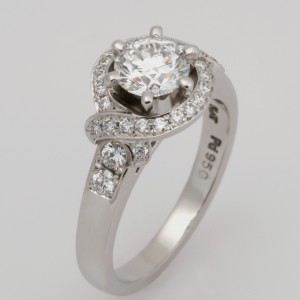 Handmade palladium and platinum diamond and sapphire engagement ring