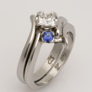 Handmade platinum and Ceylon sapphire fitted wedding ring