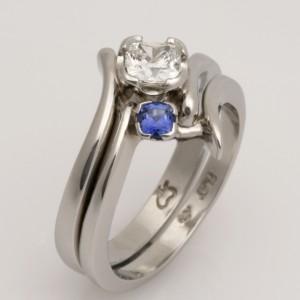 Handmade platinum and Ceylon sapphire fitted wedding ring