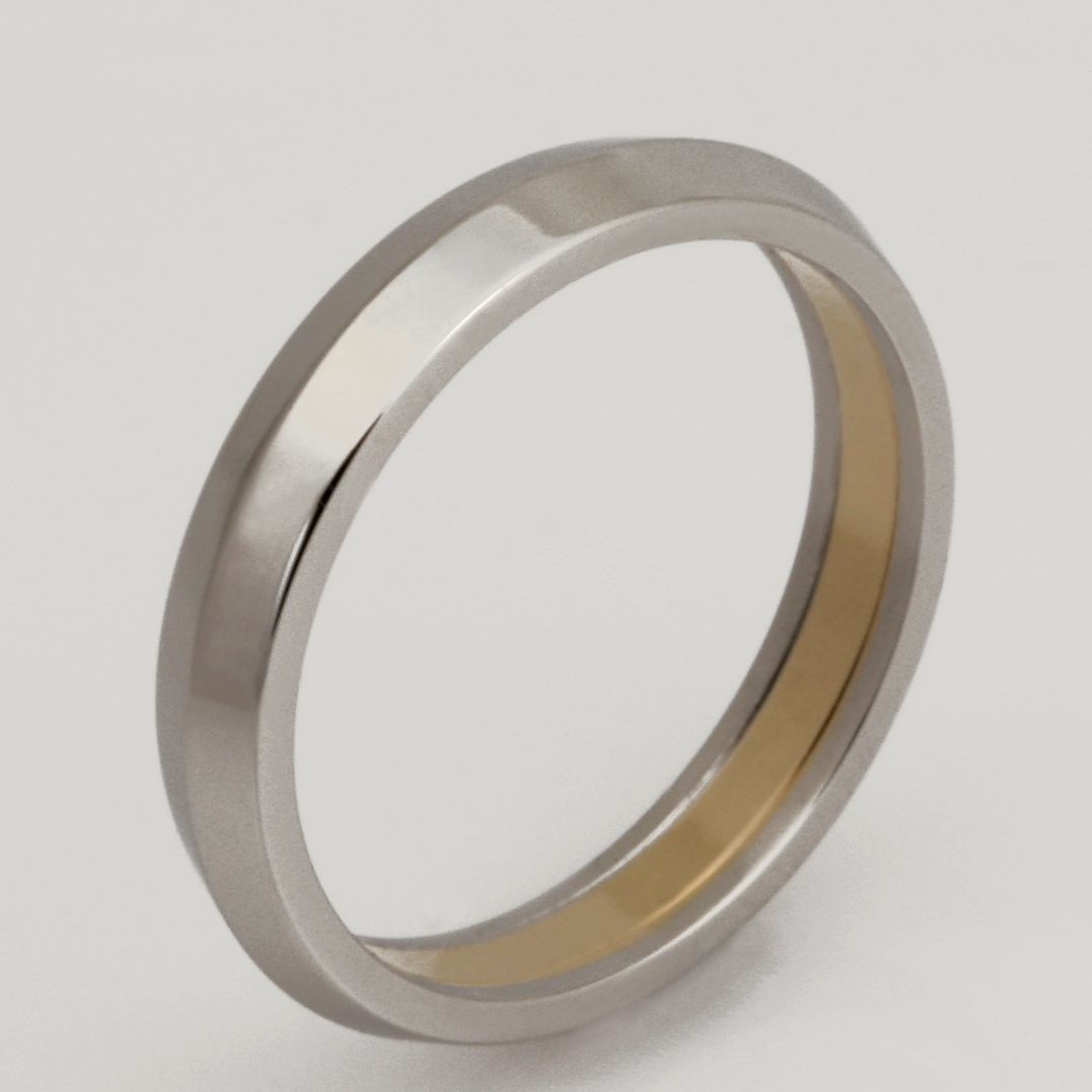 Handmade ladies platinum and 18ct yellow gold wedding ring