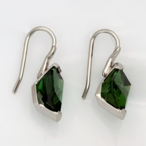 Handmade palladium and green tourmaline earrings