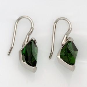 Handmade palladium and green tourmaline earrings