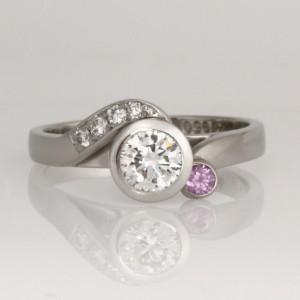 Handmade palladium and platinum diamond and sapphire engagement ring
