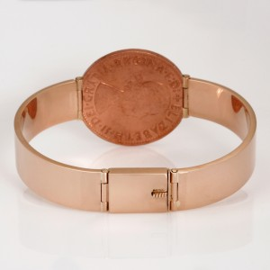 "Handmade 9ct rose gold ""penny"" bangle with a box clasp"