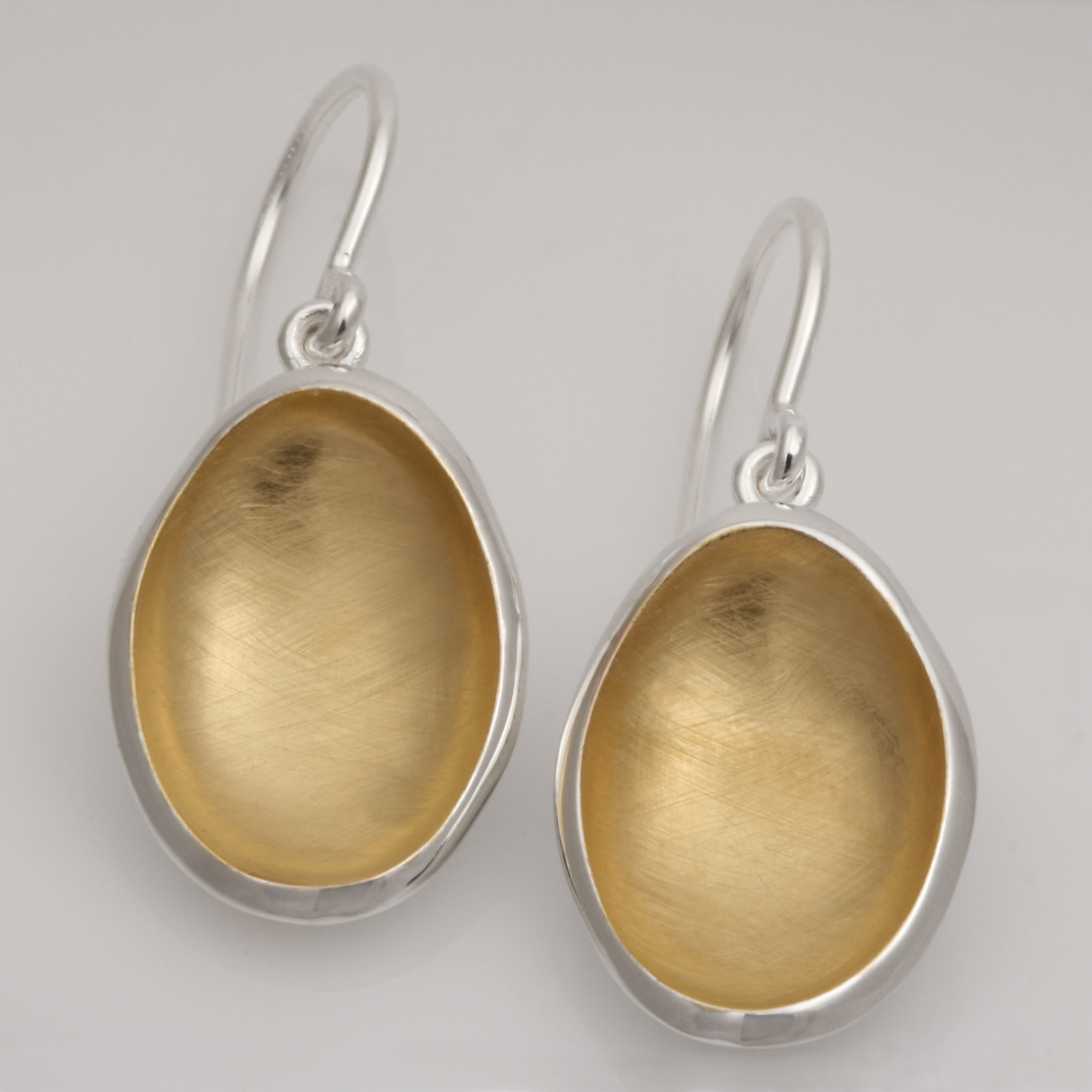 E0217 sterling silver and gold plated shepherds hook oval drops $350