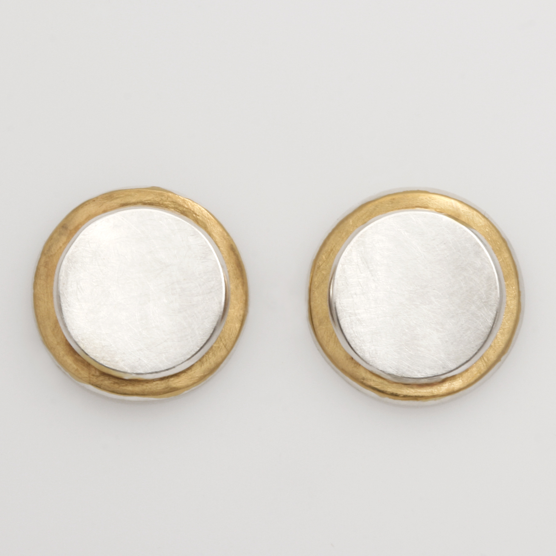 E0219 sterling silver and gold plated circle stud earrings $225